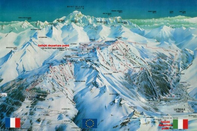Piste map for La Thuile and La Rosiere